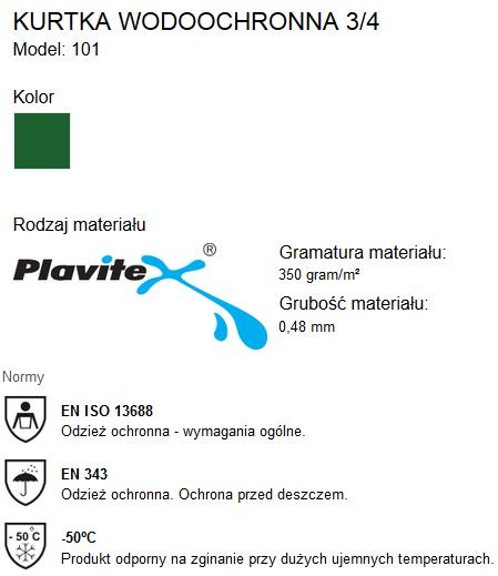 31ae02be Kurtka 101WR Zielona PROS Deszczówka Wodoochronna Kaptur 48-62